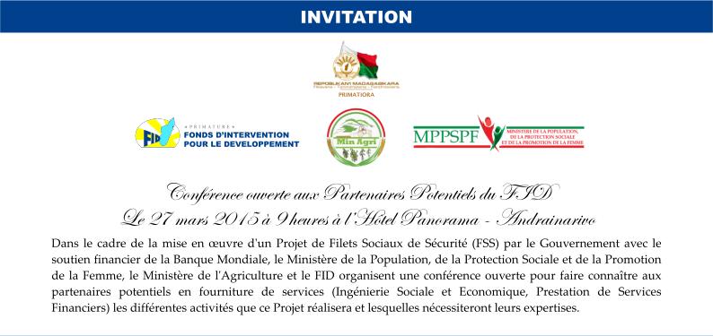 Conférence ouverte aux partenaires potentiels du FID – 27 Mars 2015