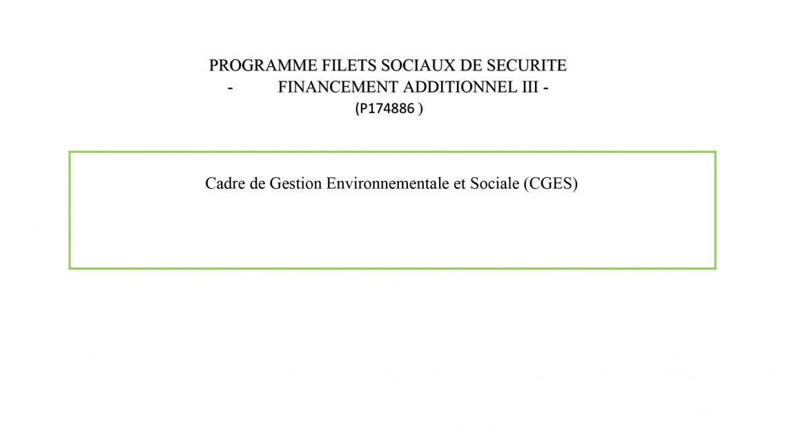Cadre de Gestion Environnementale et Sociale (CGES)