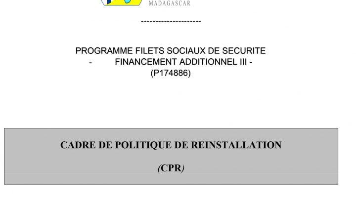 CADRE DE POLITIQUE DE REINSTALLATION (CPR)