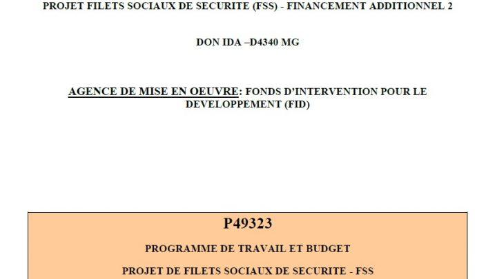 PROGRAMME DE TRAVAIL ET BUDGET PROJET DE FILETS SOCIAUX DE SECURITE – FSS FINANCEMENT ADDITIONNEL 2 : ANNEE 2020